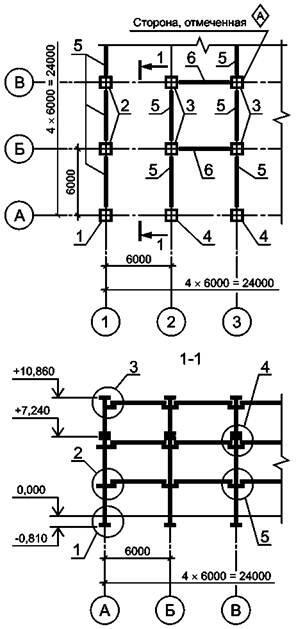 Рисунок Л.6 - Схема расположения колонн, ригелей и балок перекрытия на отм. ...