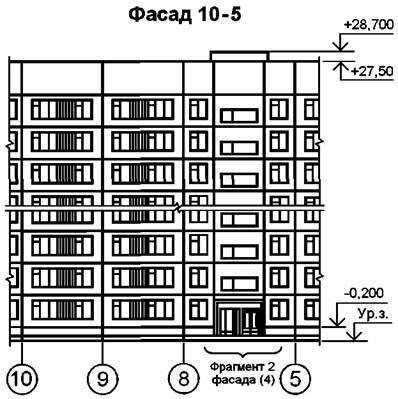 Рисунок Д.2 - Пример выполнения фасада жилого дома