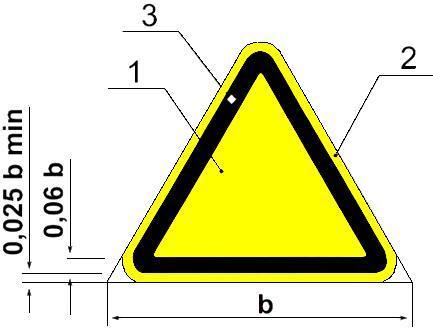 Рисунок 2. Основа цветографического изображения и соотношение размеров предупреждающих знаков безопасности