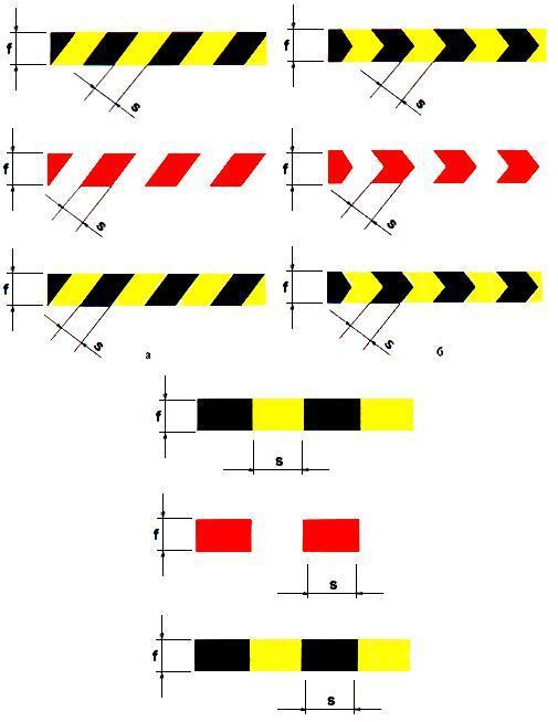 Рисунок 11. Примеры расположения полос сигнального и контрастного цветов на сигнальной разметке