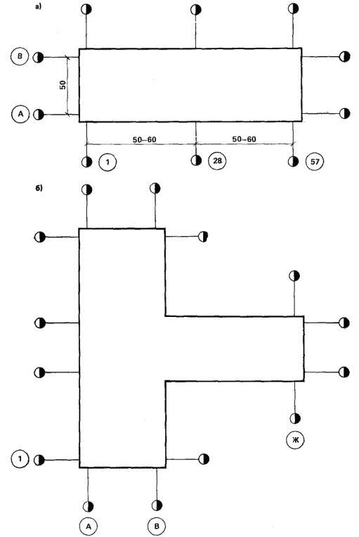 Рис. 7. Схема закрепления основных и промежуточных осей промышленных сооружений простой (а) и усложненной (б) конфигураций