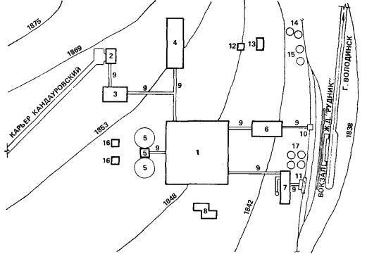 Рис. 6. Ситуационный план строительства обогатительной фабрики