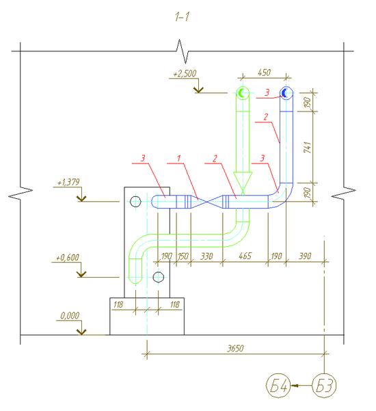 Рис. 1. Пример участка трубопровода