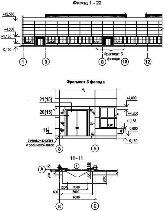 Рисунок Д.1 - Пример выполнения фасада и фрагмента фасада производственного здания