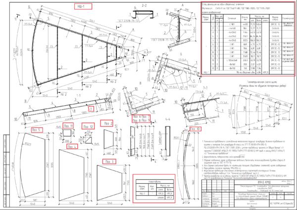 Рис. 6. Чертеж и спецификация на основе позиционных маркеров