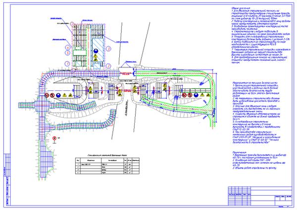 Рис. 12. Пример проекта с объектами временных дорог, перекрестков и уширения с раскладкой плит