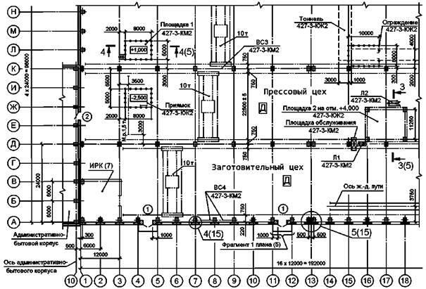 Рисунок Б.1 - Пример выполнения плана одноэтажного производственного здания